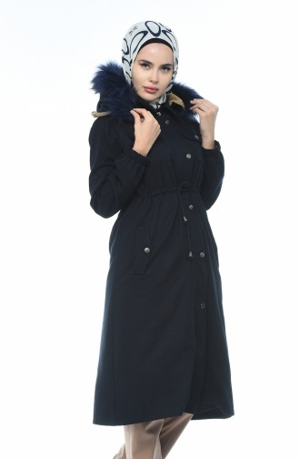 معطف طويل أزرق كحلي 4037-02