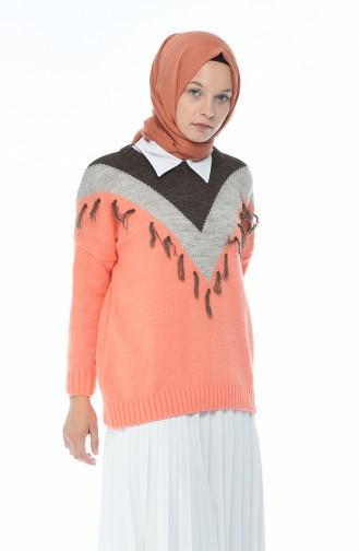 كنزة تريكو تقليدية مزينة برتقالي زهري 8035-07