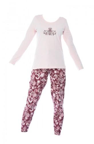 Bayan Uzun Kol Pijama Takımı 705094 Toz Pembe