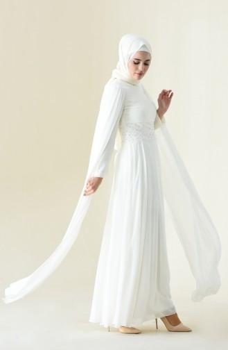 Naturfarbe Hijab-Abendkleider 9001-05