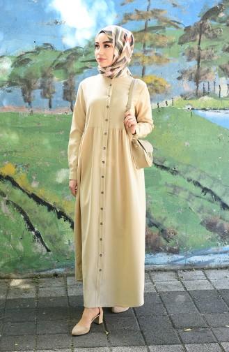 Beige Hijab Dress 5037-04