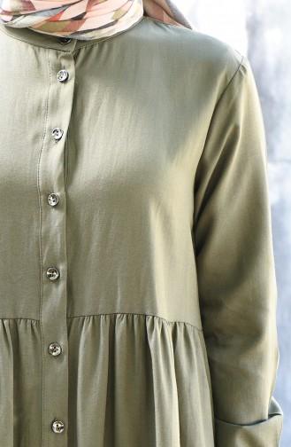 Düğmeli Elbise 5037-05 Haki