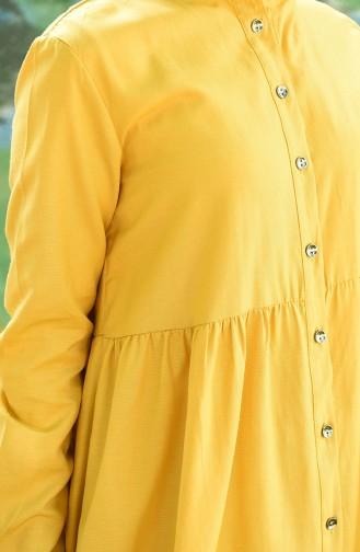 Doğal Kumaş Düğmeli Elbise 5037-11 Sarı