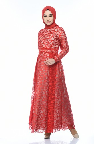 Red Islamic Clothing Evening Dress 5040-03