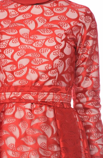 Rot Hijab-Abendkleider 5040-03