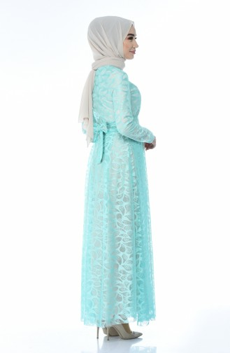 Mint green Islamic Clothing Evening Dress 5040-04
