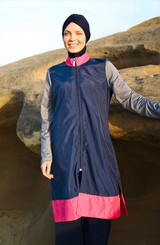Topped Hijab Swimsuit Navy Blue 19104-01