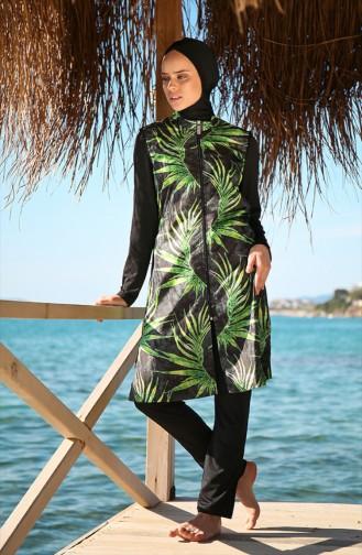 Zippered Hijab Swimsuit Black 1988-01