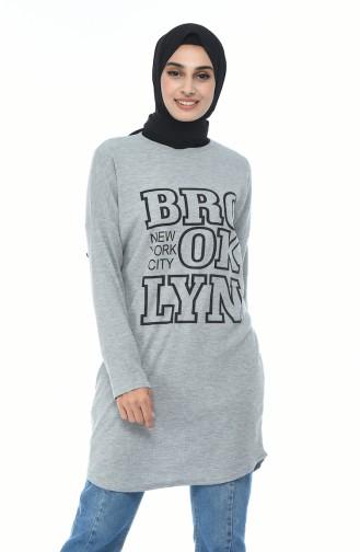 Printed Sports Tunic Gray 1092-03