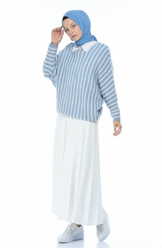 Pull Tricot a Rayures 1952-03 Bleu 1952-03