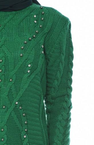 كنزة تريكو مزينة باللؤلؤ باللون الأخضر 8034-05