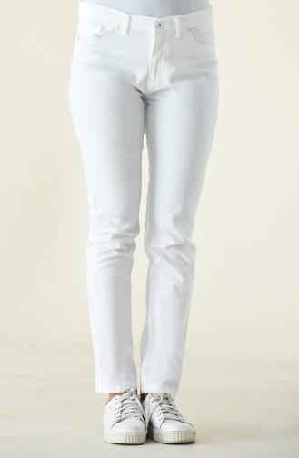 Pantalon Taille Haute 17059-02 Blanc 17059-02