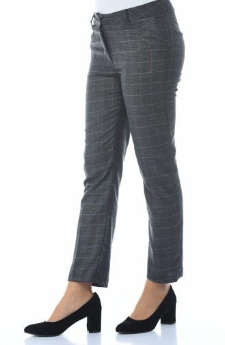 Ekose Desenli Düz Paça Pantolon 20006-01 Füme Lila