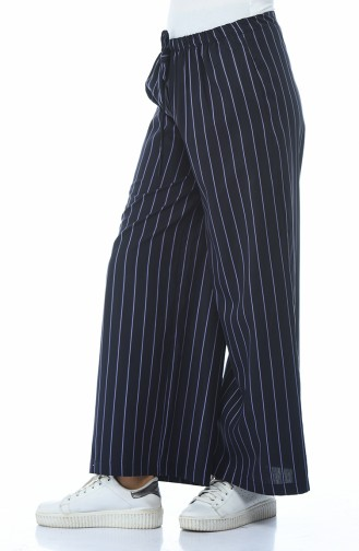 Pantalon Large a Rayures 20007A-01 Bleu Marine Lila 20007A-01