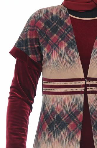 Ensemble Deux Pieces Robe Gilet Velours 8K3803352-02 Bordeaux 8K3803352-02