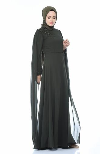 Khaki Islamic Clothing Evening Dress 9006-01