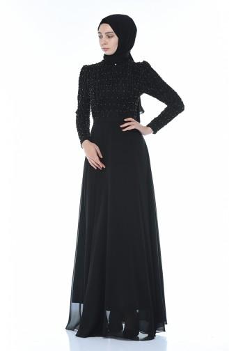 فستان سهرة مزين باللؤلؤ أسود 3150-01