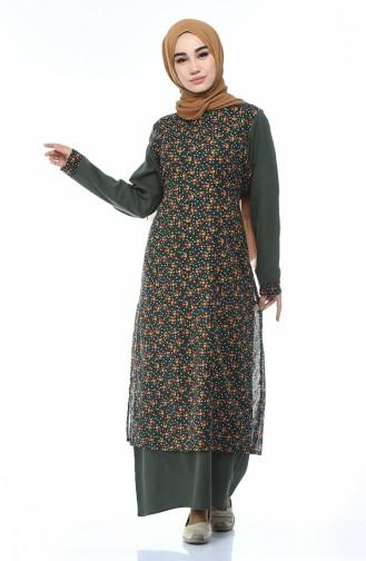 Dunkelgrün Hijap Kleider 0100-01