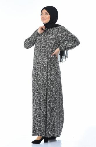 Büyük Beden Desenli Elbise 1414-01 Siyah