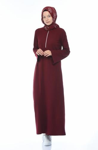 Zippered Knit Dress 5044-04 Claret Red 5044-04