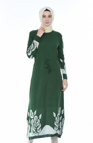 Triko Beli Büzgülü Uzun Tunik 2576-01 Yeşil 2576-01