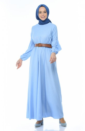 Belted Shirred Dress Bebe Blue 1039-04