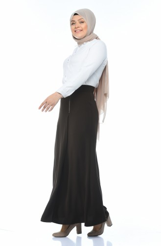Classic Skirt with Zipper Brown 6K2607200-01