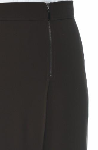 Fermuar Detaylı Klasik Etek 6K2607200-01 Kahverengi 6K2607200-01
