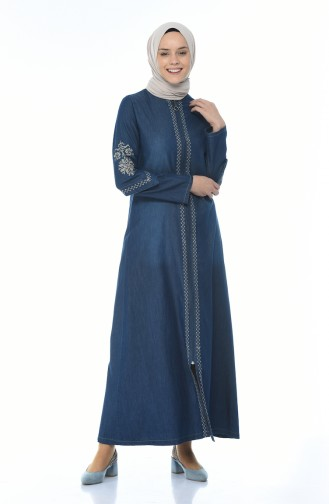 Embroidered Jeans Dress Navy Blue 1280-01