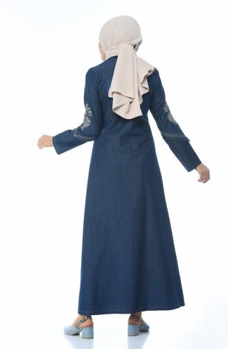 فستان جينز مطرز كحلي 1280-01