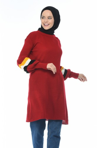 Tricot Balloon Sleeve Tunic Red 2207-10