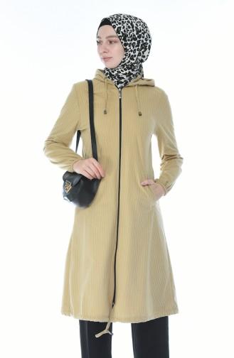 معطف مخمل بقبعة بيج 0095-03