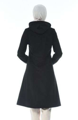 معطف مخمل بقبعة أسود 0095-05