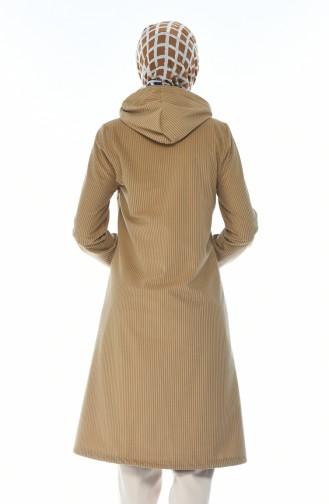 معطف مخمل بقبعة بني مائل للرمادي 0095-06