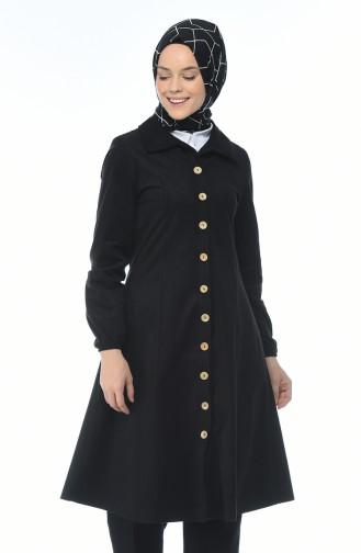 معطف مخمل بأزرار أسود 0096-06