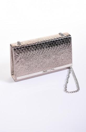 حقيبة سهرة نسائية جلد تمساح بلاتين 0506-04
