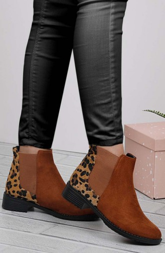 Women Patent Leather Boots Brown Tobacco Leopard 26037-08
