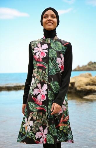 Patterned Hijab Swimwear Black 1996-01