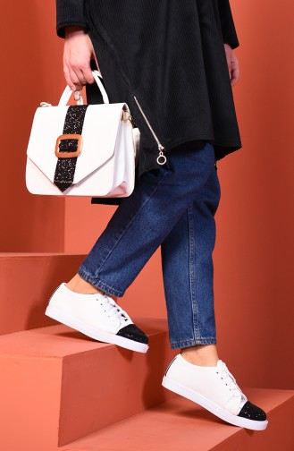 Sneaker and Bag Suit White Black Silvery 01