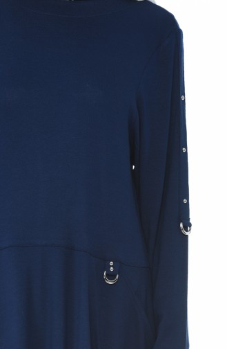 Big Size Pocket Tunic Trousers Double Set Navy Blue 0152-04