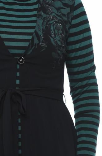 طقم مخطط تونيك وسترة أسود وأخضر زمردي 7K6711200-01