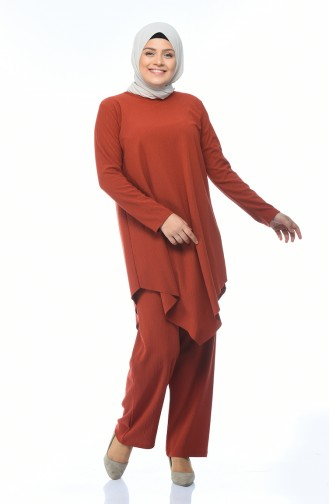 Büyük Beden Asimetrik Tunik Pantolon İkili Takım 1094-02 Kiremit 1094-02