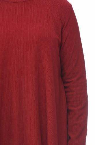 طقم بنطلون وتونيك بطول غير متماثل مقاس كبير أحمر كلاريت 1094-04