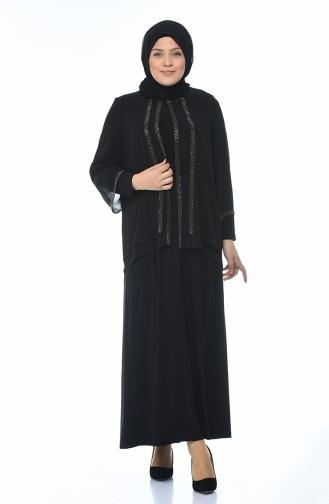 Robe de Soirée Grande Taille 3149-01 Noir 3149-01