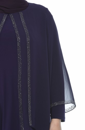 Evening dress decorated with strass large size purple 3149-03