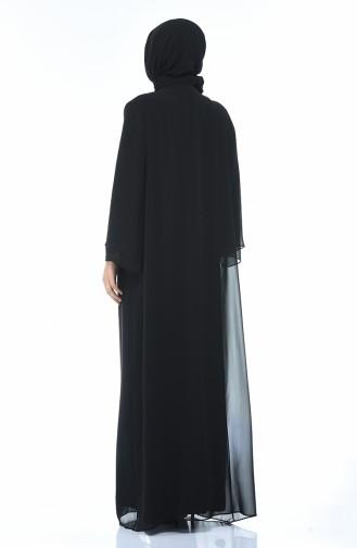 Black Islamic Clothing Evening Dress 6256-01
