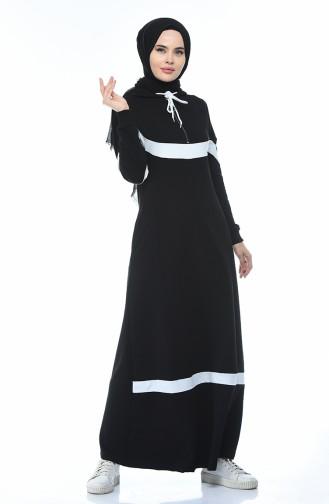 فستان رياضي بقبعة أسود 4017-01