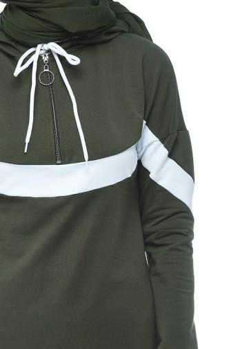 Sportkleid mit Kapuze 4017-03 Khaki 4017-03