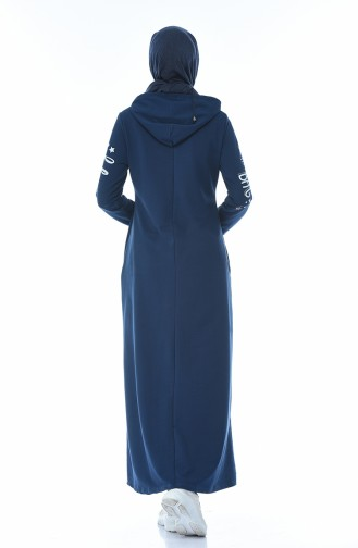 فستان رياضي مزين بالستراس نيلي 4086-02