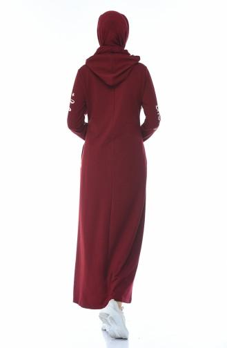 فستان رياضي مزين بالستراس أحمر كلاريت 4086-03
